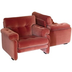 Pair of Coral Red Velvet Italian Armchairs, 1970s