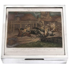Cigar Box Sterling Silver Horse Racing Steeple Chase Art Deco