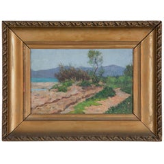 Antique French Oil on Board Mediterranean Scene, 19th Century
