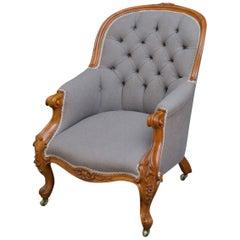 Victorian Walnut Spoonback Armchair