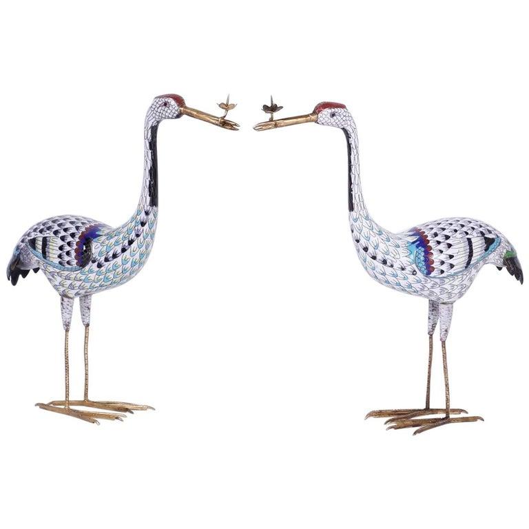 Pair of Cloisonné Birds