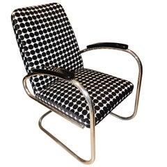 Bauhaus Tubular Steel Chair, 'FUN' Fabric, Germany circa 1925
