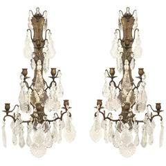 Pair of French Louis XV Style Dark Bronze and Crystal Wall Sconce