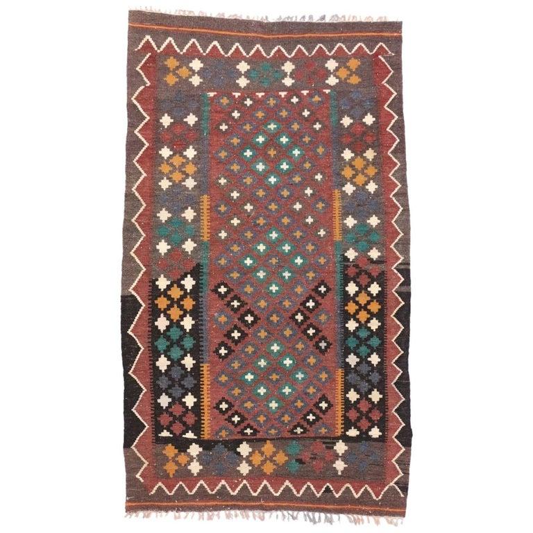 Vintage Afghan Kilim Rug with Traditional, Tribal Design Flat-Weave Rug