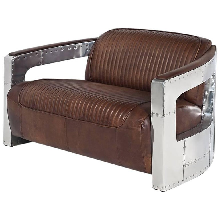 Aviator Riveted Sofa Two-Seat with Genuine Leather and Riveted Aluminium