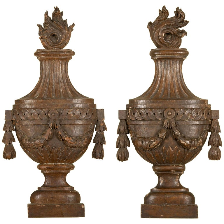 Pair of 18th Century French Neoclassical Carved Wood Urns