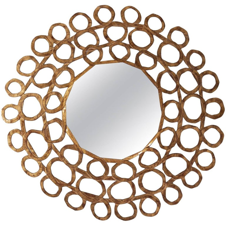Gold Curls Mirror in Hand-Carved Solid Wood in Old Gold Finish For Sale