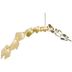 'Lavender' Feyzstudio Cast Crystal Shaped Glass with Brass Branch Led Chandelier
