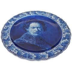 Midcentury Large Delft Rembrandt Van Rijn Self Portrait Plate