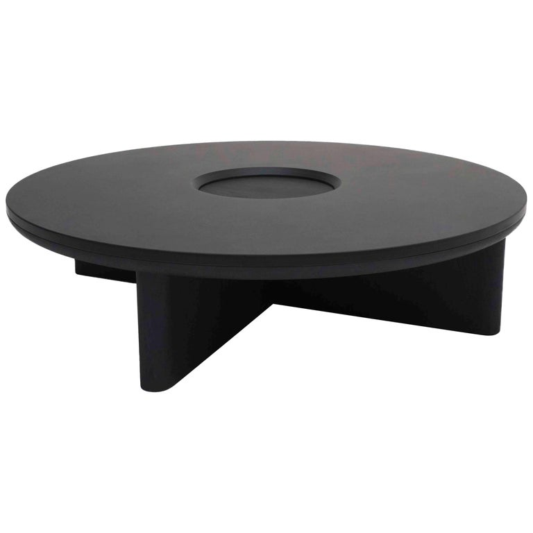 Focus Contemporary Round Coffee Table Black Oak Welsh Slate By Made In Ratio
