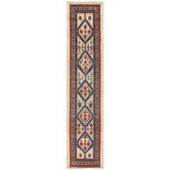 Ivory Background Antique Persian Serab Runner Rug