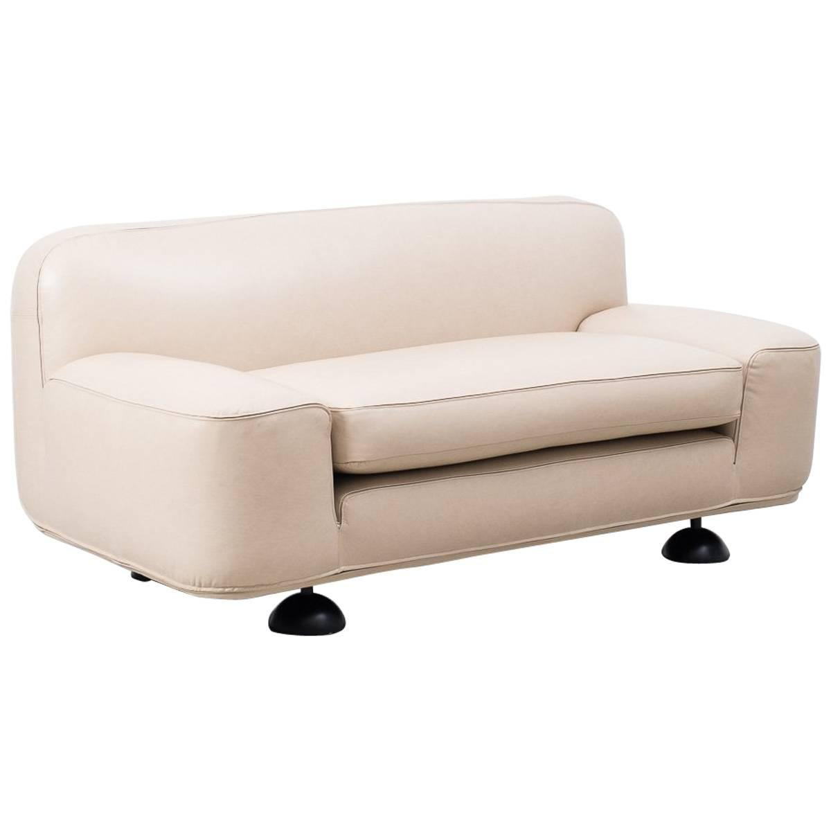 Franco Poli Altopiano Two Seat Leather Sofa For Sale