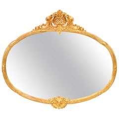 French Louis XVI Style Gilt Oval Fluted Frame Wall Mirror