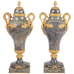 Louis XVI Marble Lidded Urns, 19th Century