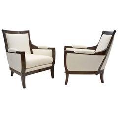 Pair of Upholstered Mahogany Armchairs, France, circa 1940s