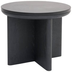 'Focus' Contemporary Round Side Table Black Oak & Welsh Slate by Made in Ratio