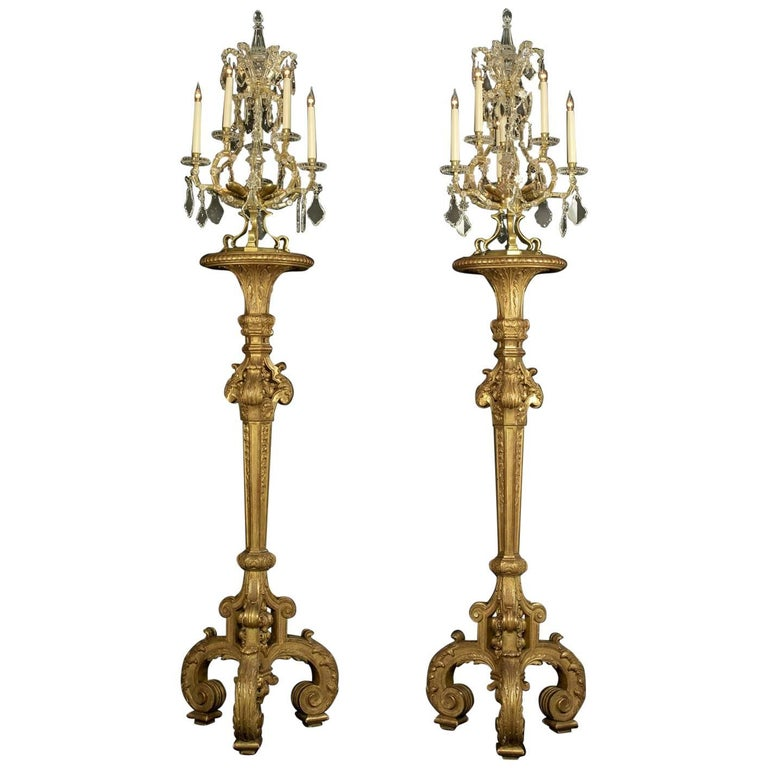 Fine Pair of Louis XIV Style Giltwood Torcheres