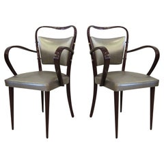 Set of 8 Italian Modern Dark Walnut Armchairs, Paolo Buffa