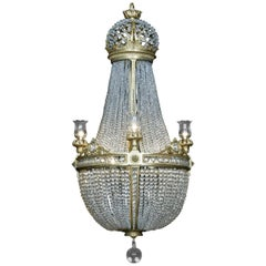 Tent and Basket Chandelier Attributed to Baccarat