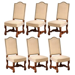Mid-20th Century Set of Six French Louis XIII Carved Os de Mouton Side Chairs