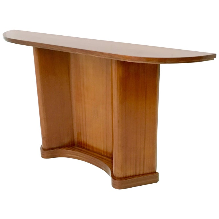 Midcentury Demilune Mahogany Console Table, Italy, 1950s