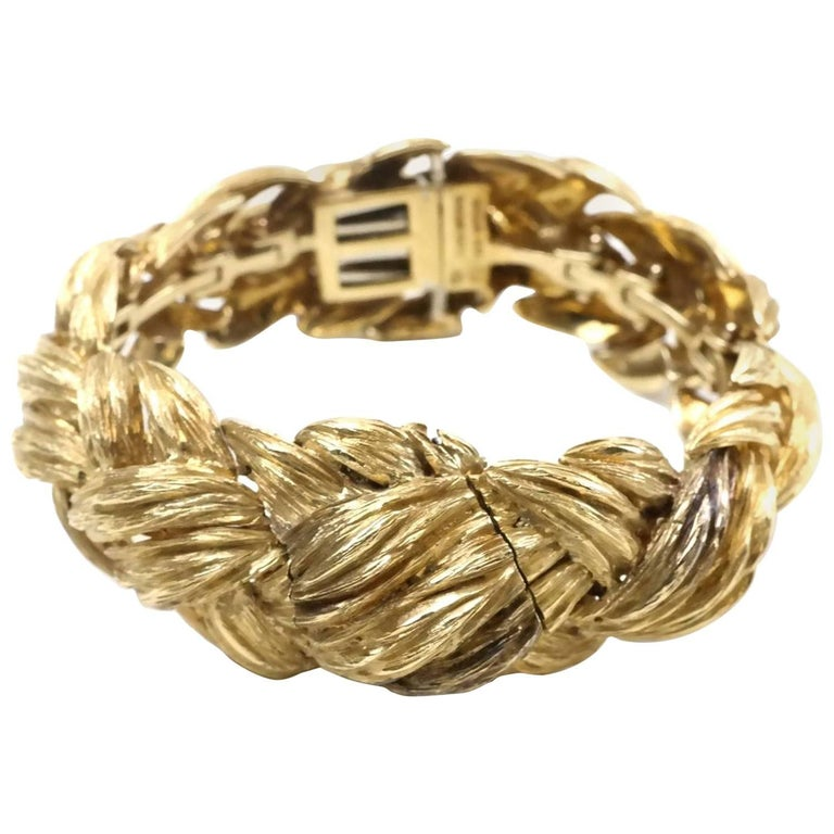 David Webb 18-Karat Gold Weave Watch Bracelet