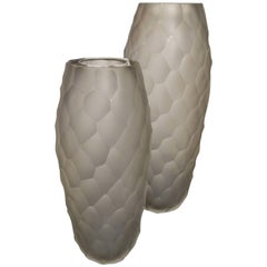 Pair of Alberto Donà Large Gray Frosted Faceted Italian Murano Vases