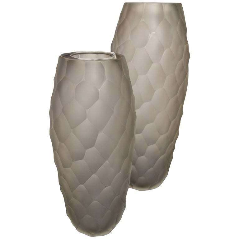 Pair of Alberto Donà Large Gray Frosted Faceted Italian Murano Vases For Sale