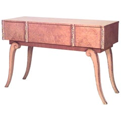 English Art Deco Parcel-Gilt Maple Console Table