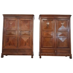 19th Century Italian Charles X Walnut Pair of Wardrobes