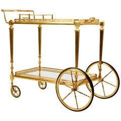Vintage French Brass Tea or Bar Cart with Removable Tray