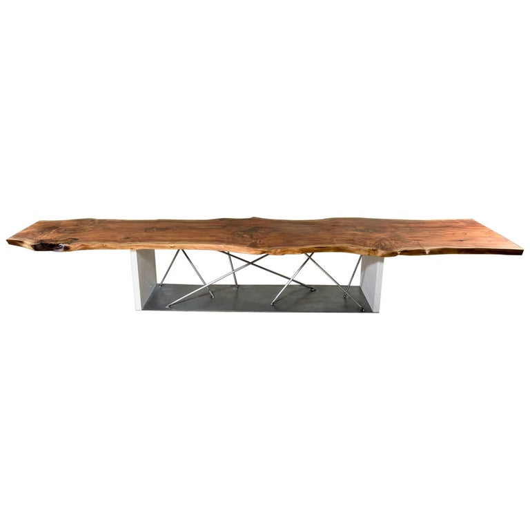 Live Edge Black Walnut Dining Conference Table with Cambria Quartz Base