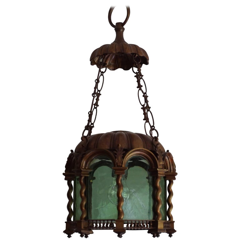 Baroque Revival Early 20th Century Bronze & Green Glass Lantern / Light Fixture