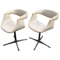 Pair of Italian Swivel Chairs with Eco Leather from 1960s
