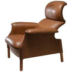 """""""Sanluca"""" Leather Lounge Chair by Castiglioni for Gavina"""