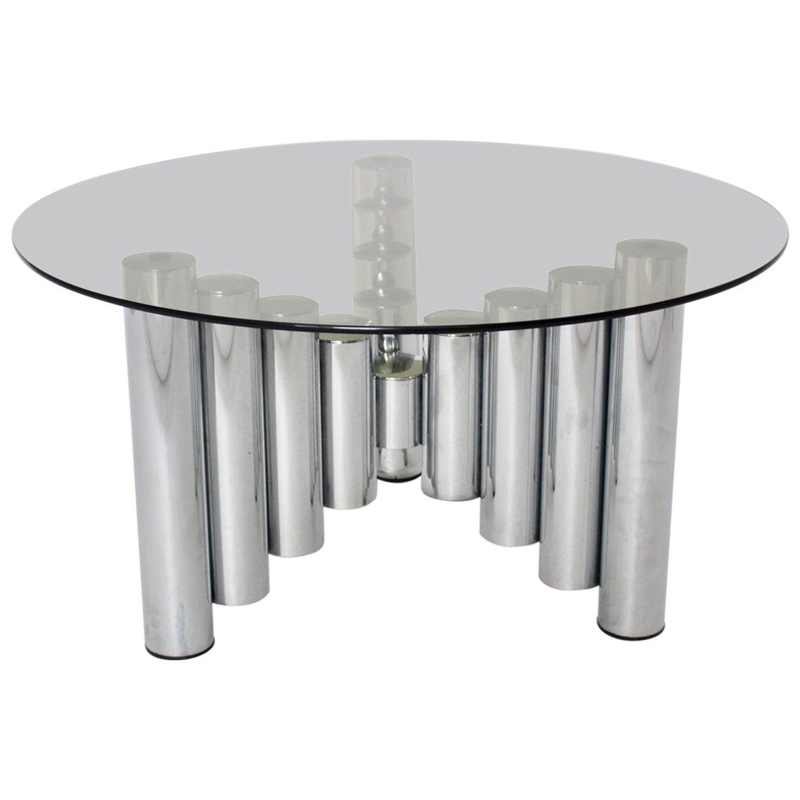 Mid Century Modern Vintage Chromed Tube Coffee Table Manhattan, 1960s