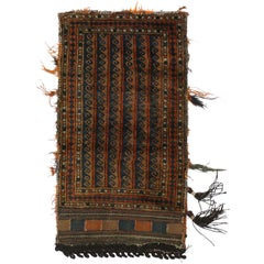 Antique Afghan Baluch Balisht Bag, Tribal Style Tapestry, Nomadic Wall Hanging