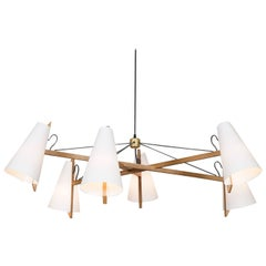 Hood Chandelier in White Oak by Brendan Ravenhill