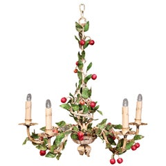 Early 20th Century French Painted Iron and Tole Chandelier with Cherries&Leaves