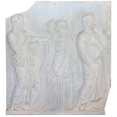 Antique European Greek Art Plaque Relief in Plaster