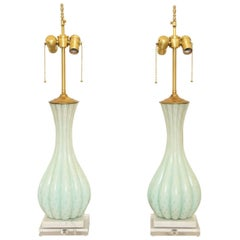 Pair of Light Blue Murano Glass Lamps with Gold Inclusions on Lucite Bases