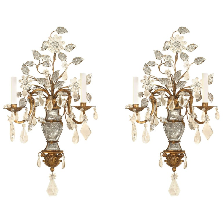 French 1940s Gilt Metal Two-Arm Wall Sconces