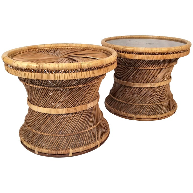 Twisted Rattan Hourglass Side Tables
