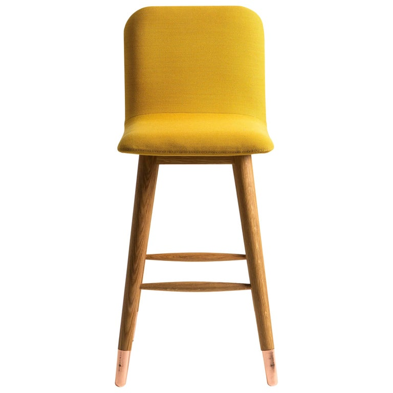 Contemporary American White Oak Yellow Mistral Bar Stool with Copper Legs