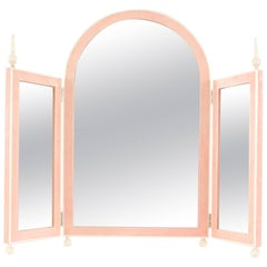 French Art Deco Style Pink Shagreen Tabletop Triptych Dressing Table Mirror