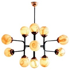 21st Century Ziron Handblown Glass Chandelier with Black Painted Metal Copper
