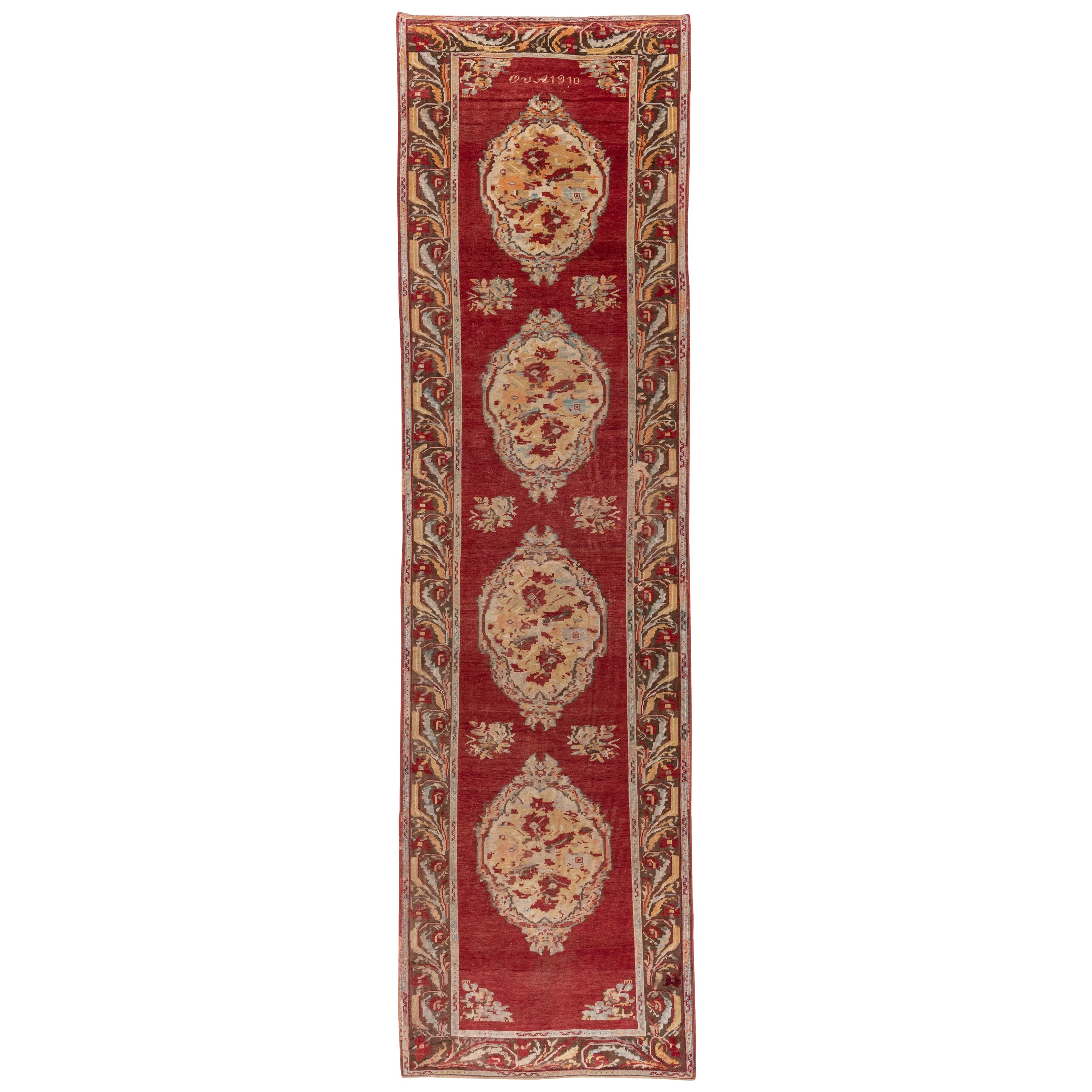 Antique Red Turkish Oushak Runner