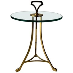 Midcentury Brass and Glass Top Cigarette, Side or Drinks Table