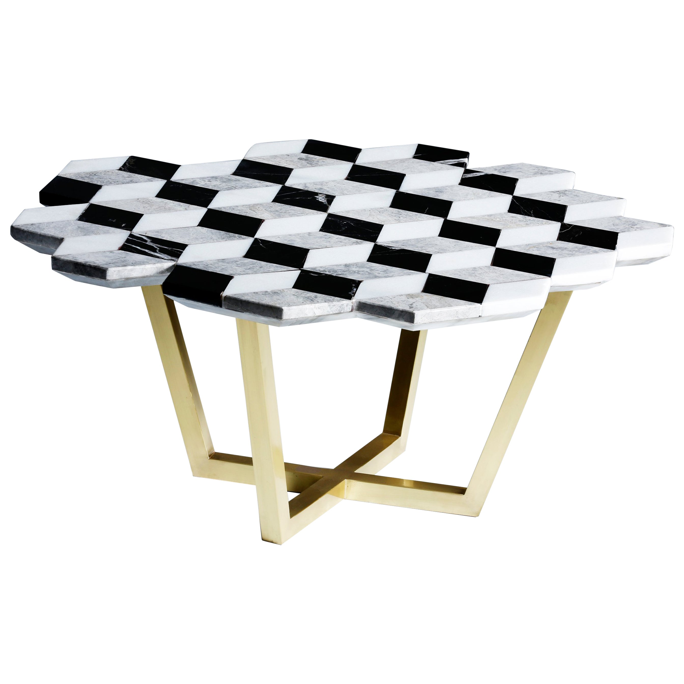 21st Century Diplopia Monochrome Cubic Marble Side Table