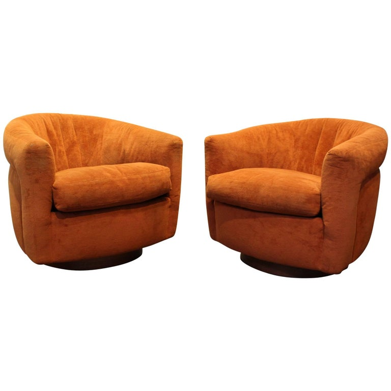 Pair of Milo Baughman Swivel and Tilt Tub Chairs